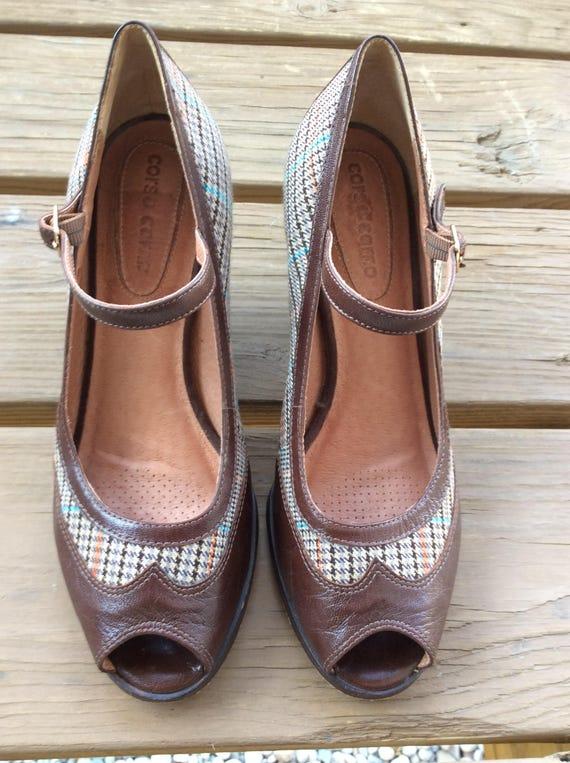 Vintage wedge spectator peep toe Mary Jane shoes size 7.5 leather tweed