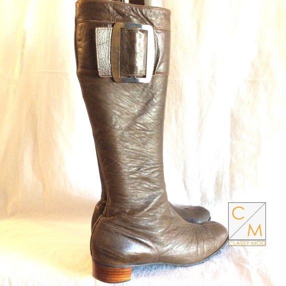Olive green Gogo Boots 60s mod funky boots hippie