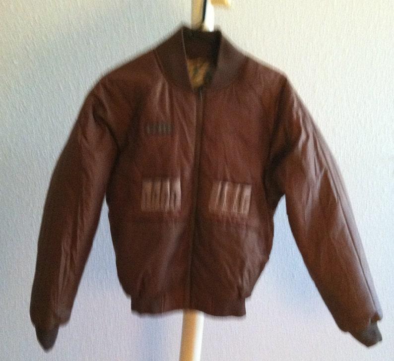 Vintage 60s 70s camo bomber flight hunter hunting jacket size small medium brown green