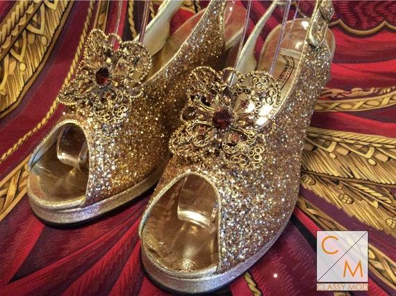 Vintage 50s platform gold glitter 60s heels shoes