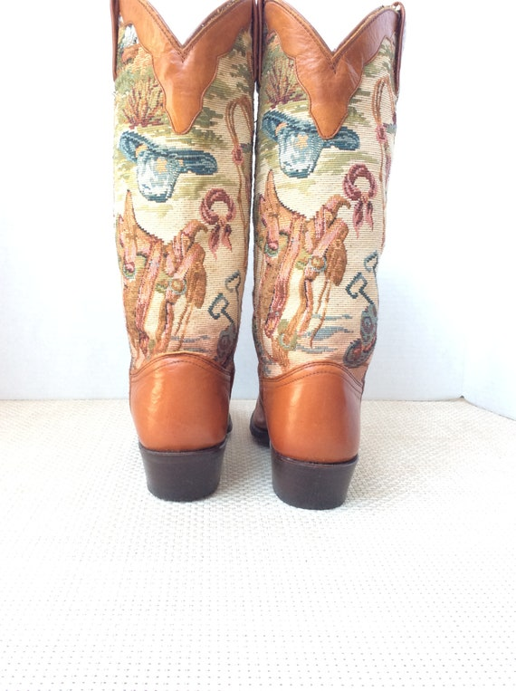 Vintage 70s 80s western tapestry cowboy boots Dan