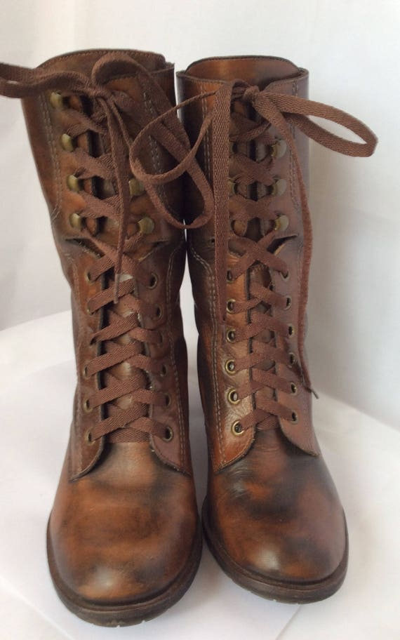 knee high combat boots with buckles