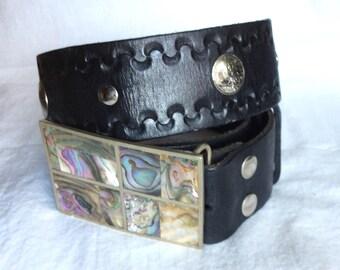 Vintage cowboy leather belt 34 abalone shell buckle