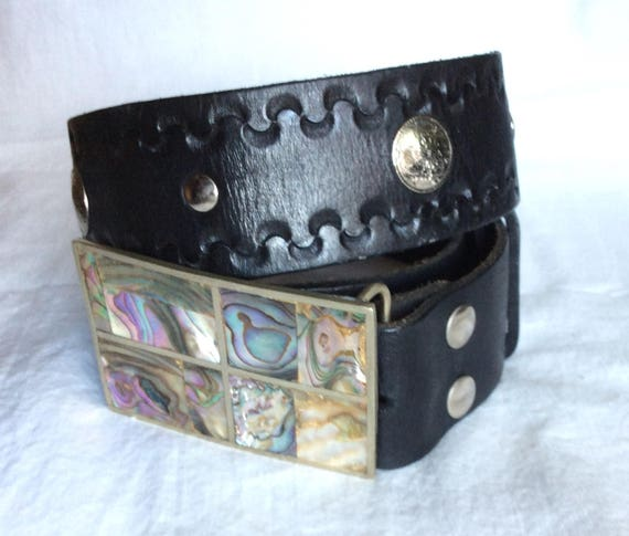 Leather Abalone Buckle Belt