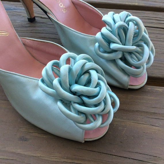 True vintage 40s 50s bedroom slippers satin baby b