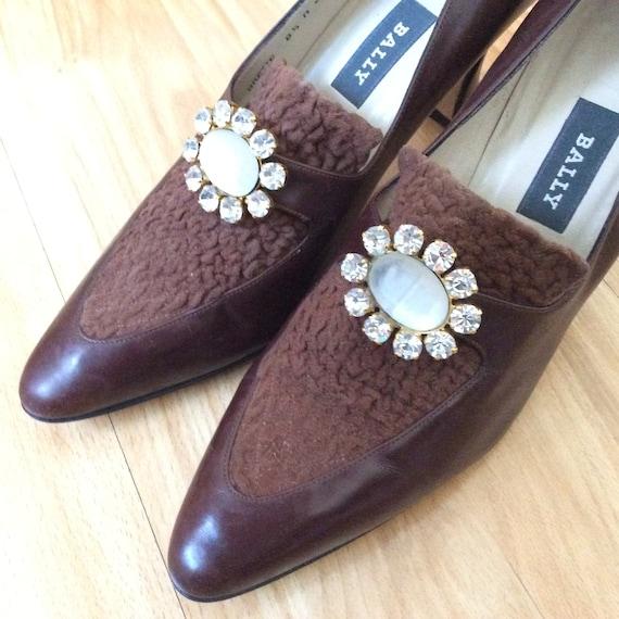 Vintage Bally pilgrim style heels shoes pumps size