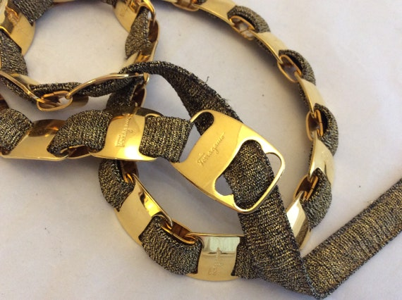 Olive green Ferragamo belt gold tone links metalli