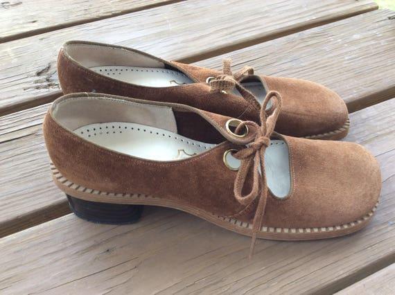 Vintage Mod shoes retro funky size 7.5 70s schoolg