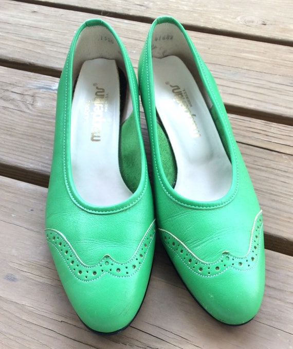 60s Vintage mod green leather shoes retro pumps si