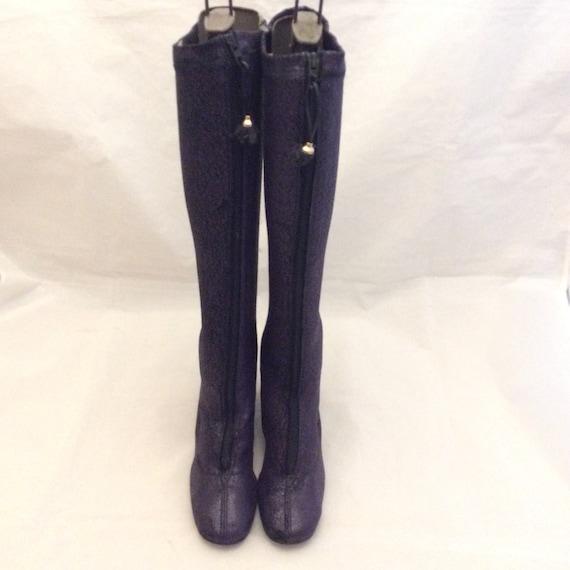 True vintage 1960 60s mod purple go go boots gogo