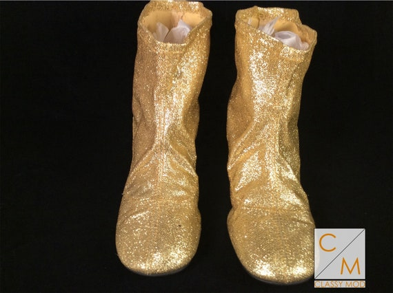 Go go boots size 6.5 gold ankle booties 60s mod 19