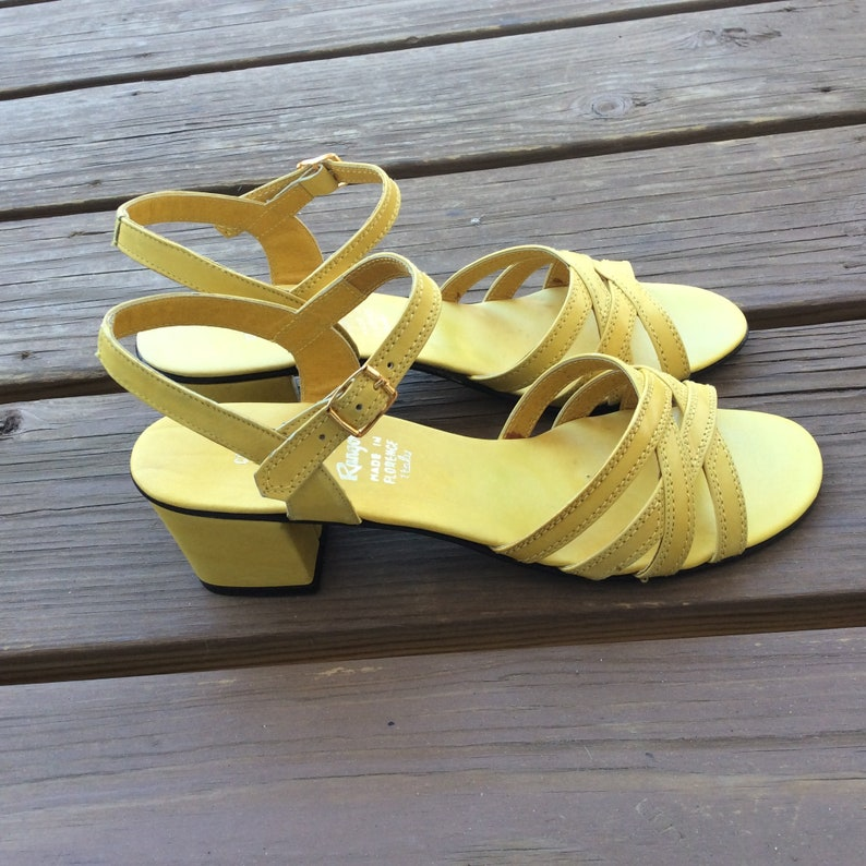 f3fbcd243bff5 Chunky block heel bright yellow sandals Florence Italy size 7.5 new old  stock