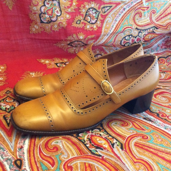Vintage French loafers shoes buckle 60s mod heels