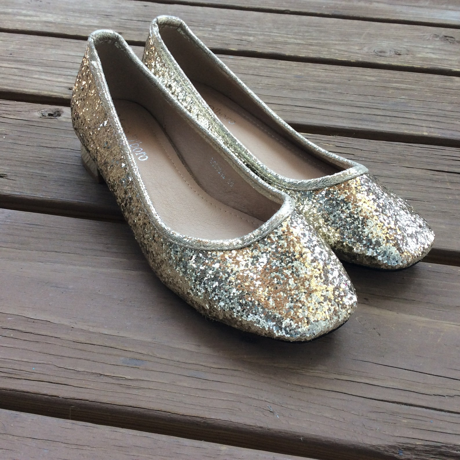 vintage retro gold glitter flats square chunky low heels pumps shoes ballet 8.5