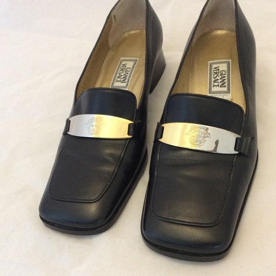 Gianni Versace loafers Medusa logo black leather s