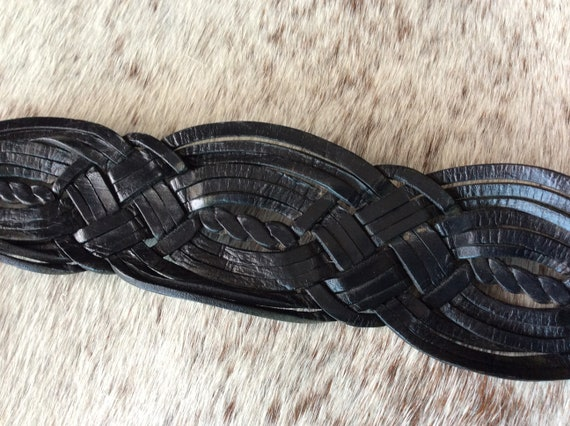 Woven leather oversized buckle wide belt 80s west… - image 3