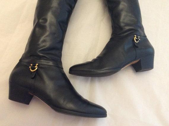 No autorizado Derivar Supermercado  Salvatore Ferragamo botas de montar de cuero negro tamaño 7 | Etsy