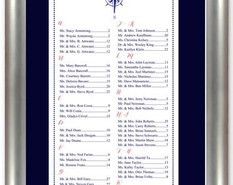 Nautical Seating Chart, Digital, Compass, Table Assignment, Wedding Reception, Ocean, Beach, Choose sm, md or lg for approx. 130-300 guests