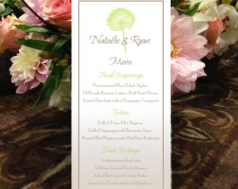 "Dandelion Menu, Allium Menu, Natural Menu, Garden Menu for your Wedding or Special Event - finished size 4.25"" x 9"""