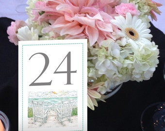 Beach Table Numbers, Seaside, Adirondack Chairs, Nautical Table Numbers, Shore Wedding, 1 - 50 Instant Download and Print