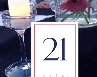 Sailboat Table Numbers, Nautical Table Numbers, Beach Wedding Table Numbers, Navy and Red Table Numbers, 1 - 50 Instant Download Numbers