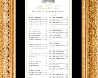 Vintage Seating Chart, Digital, Victorian, Romantic Table Assignment, Choose - Small, Medium or Large sizes for approx. 130 to 300 guests