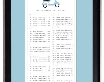 Scooter Seating Chart, Digital, Vespa, Whimsical Table Assignment, Wedding, Print Yourself, Sm, Md or Lg sizes for approx. 130 to 300 guests