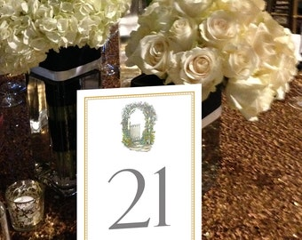 Shabby Chic Table Numbers, Floral Arch Table Numbers, Artistic Table Numbers, Flowers Table Numbers 1 - 50 Instant Download Table Numbers