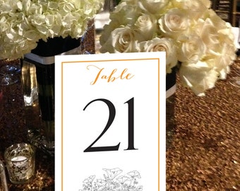 Poppies Table Numbers, California Poppy, Poppies, Garden Wedding, Botanical, Instant Download and Print Table Numbers, 1 - 50