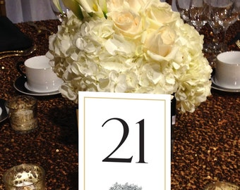 Floral Table Numbers, Vintage, Black and Gold, Flower Basket Table Numbers, Victorian, 1 - 50 Instant Download and Print