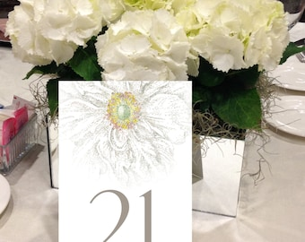 Flower Table Numbers, Floral, Garden Wedding, Artistic, White Flower, Modern 1 - 50 Instant Download and Print Table Numbers