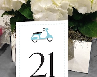 Scooter Table Numbers, Vespa Table Numbers, Retro Table Numbers, Italian Table Numbers, 1 - 50 Instant Download Table Numbers