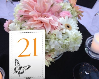 Butterfly Table Numbers, Garden Wedding, Monarch, Orange and Black, Dinner, Casual Wedding Table Numbers 1 - 50 Instant Download
