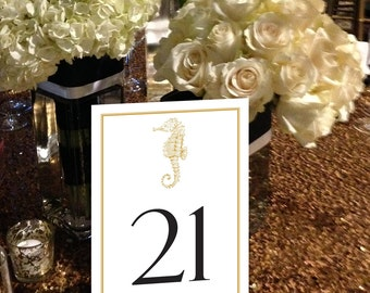 Sea Horse Table Numbers, Nautical, Seaside, Shore, Beach Wedding Table Numbers, Black and Gold Table Numbers, 1 - 50 Instant Download
