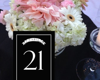 Chalkboard Table Numbers, Black Table Numbers, Casual Table Numbers, Black and White Wedding, 1 - 50 Instant Download and Print Numbers