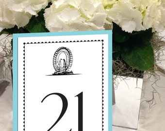 Ferris Wheel Table Numbers, Circus Table Numbers, State Fair Wedding Table Numbers, Black and Turquoise Table Numbers 1 - 50 Instant Print