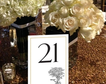 Tree Table Numbers, Cypress Tree Table Numbers, Garden Table Numbers, Outdoor Wedding Table Numbers, Natural Numbers 1 - 50