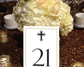 Cross Table Numbers, Greek Cross, Traditonal, Formal Table Numbers, Vintage Table Numbers 1 - 50 Instant Download and Print.