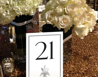 Silverware Table Numbers, Formal, Dinner, Victorian, Traditional, Black and White Table Numbers 1 - 50 Instant Download and Print