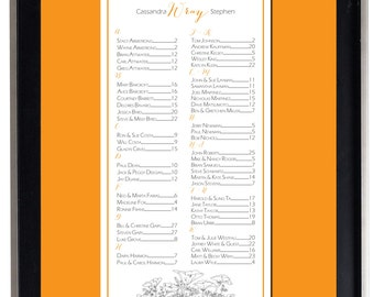 California Poppy Seating Chart, Digital, Floral Seating Chart, Poppy Table Assignment, Wedding Choose sm, md or lg for approx 130-300 guests