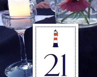 Lighthouse Table Numbers, Nautical Table Numbers, Beach Table Numbers, Navy and Red Table Numbers, Shore Table Numbers, 1 - 50 Instant Print