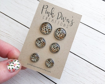 Animal Print Stud Earrings Glass Earrings 12mm 10mm 8mm Animal Pattern Jewelry Cabochon Earrings Gift For Her Colorful Studs