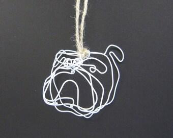 Bulldog Head Wire Ornament