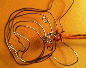 Wire Sculpture French Bulldog Ornament