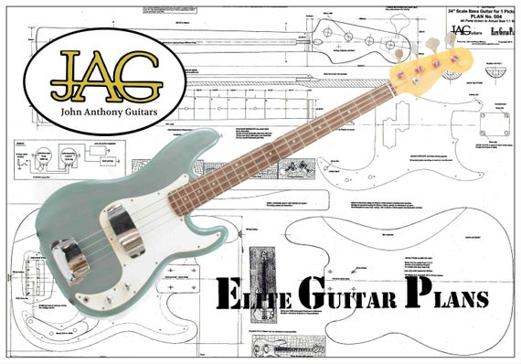 plan to build fender precision electric bass guitar left hand etsy. Black Bedroom Furniture Sets. Home Design Ideas