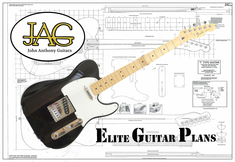 rolled plan to build telecaster electric guitar diy project etsy. Black Bedroom Furniture Sets. Home Design Ideas