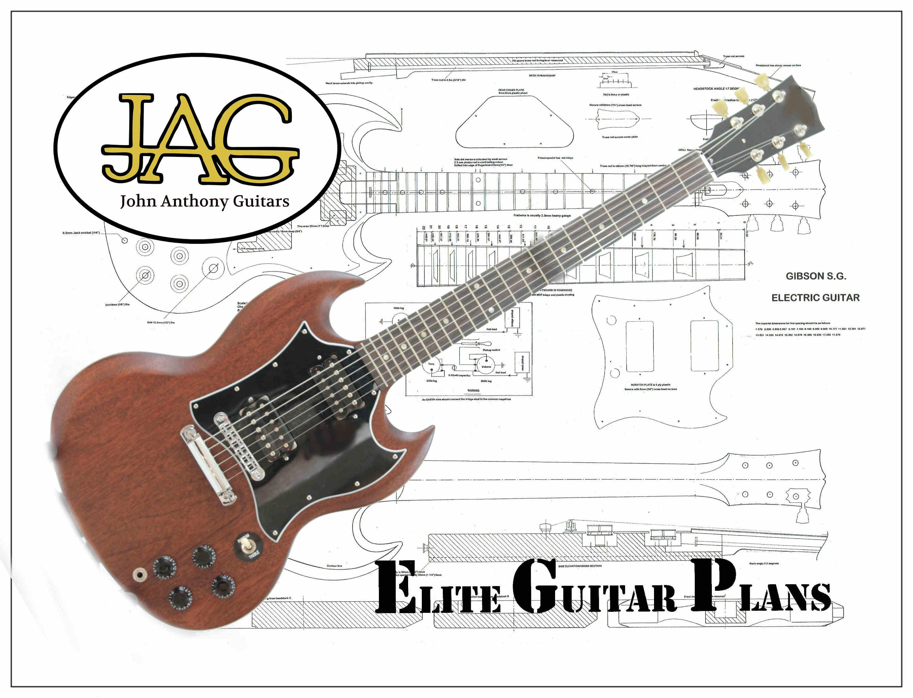 rolled plan to build s g electric guitar diy project or ideal etsy. Black Bedroom Furniture Sets. Home Design Ideas