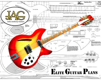 Luthiers Plan To Build Rikki style 360 series ,6 or 12 String Electric Guitar P047