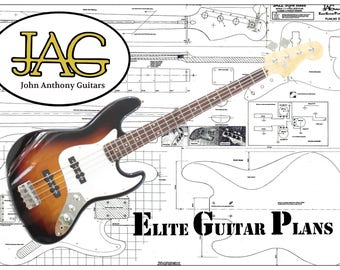 Plan to build Electric Jazz Bass Guitar/Musicians DIY project or ideal gift. P005