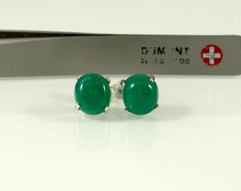 8mm Round 4.65 Carat Cabochon Natural Colombian Emeralds Sterling Silver Earrings